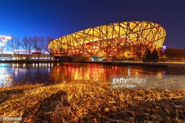 bird's nest brilliant night - 国立オリンピック競技場 ストックフォトと画像