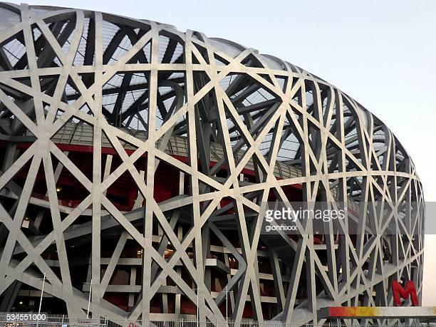 uccello nido di architettura, lo stadio nazionale di pechino - stadio olimpico nazionale foto e immagini stock