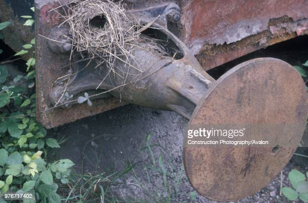 Birds nest on the tender buffer of the 1879 Hartmann 080 abandoned at Olloniego Colliery Spain Thursday 21st May 1987 Four wheeled tender from 060 No...