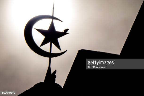 Birds sit on a symbol of a crescent moon and star attached to the roof of a mosque in Jakarta on June 23 ahead of the Eid alFitr festival this...