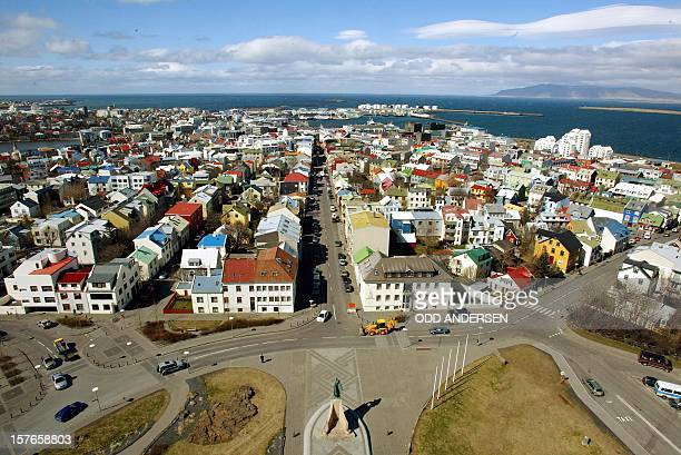 A birds view of downtown Reykjavik 13 May 2002 the capital of the north atlantic island of IcelandAFP PHOTO / Odd ANDERSEN