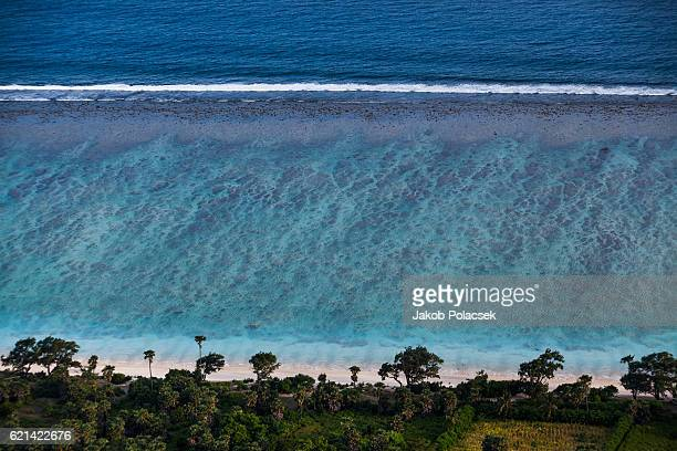 Birds view of magnificent coaral lagoon