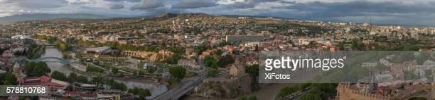 Bird's-eye and panoramic view of Tbilisi at sunset