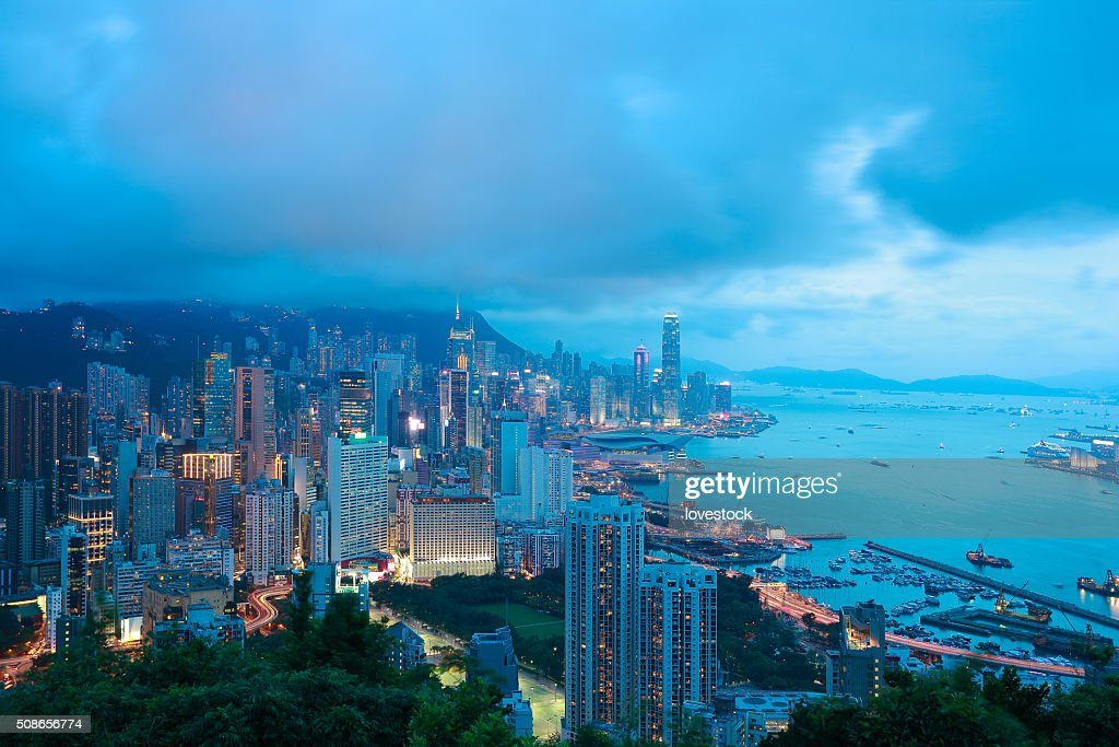 Bird's-eye view at Hong Kong Victoria Harbour of skyline : Stock Photo