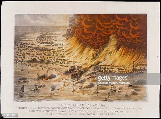 Bird'seye view looking west from Lake Michigan towards Chicago in flames during Great Chicago Fire Chicago Illinois 1872