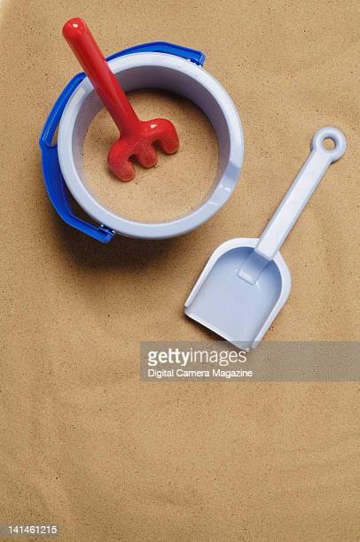 Birdseye view of a children's plastic sand bucket and spade taken on July 28 2009