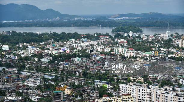birdseye view of a city - guwahati stock pictures, royalty-free photos & images