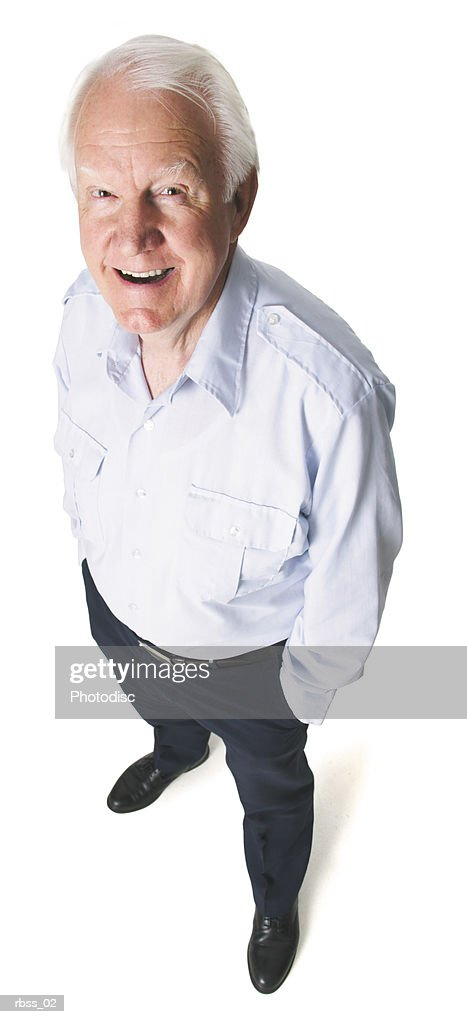 Birdseye view of an elderly man smiling for the camera. : Foto de stock