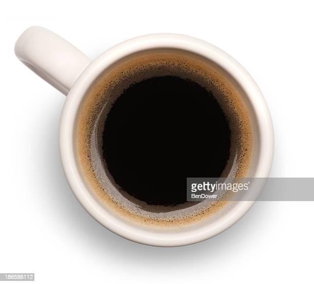 Birdseye view of black coffee in white mug