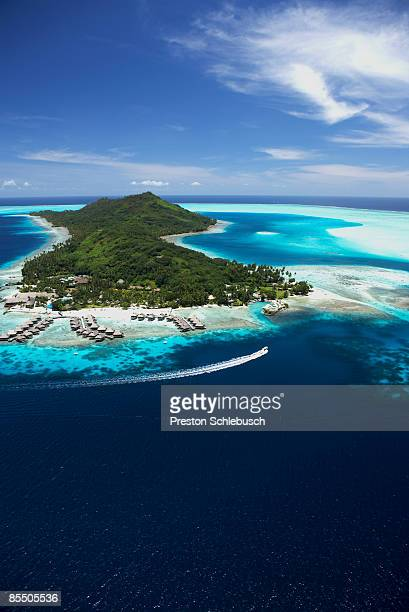 birdseye view of bora bora - schlebusch stock pictures, royalty-free photos & images