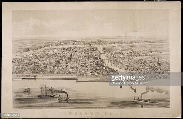 Bird'seye view of Chicago from Lake Michigan Chicago Illinois 1853 There is a train at left 2 steamboats and 3 sailing ships
