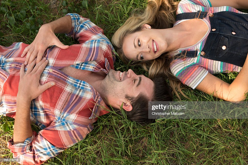 Birdseye view of couple on a picnic : Stock Photo