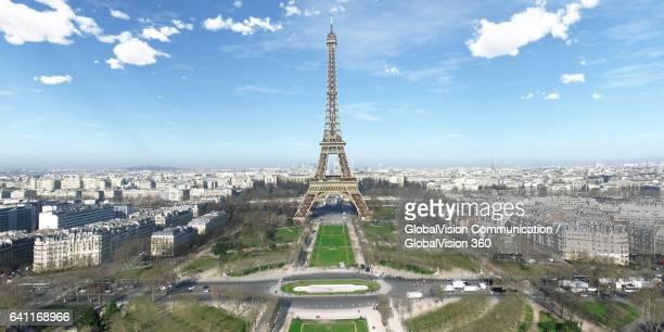 Bird's-eye View of Eiffel Tower in Paris, France