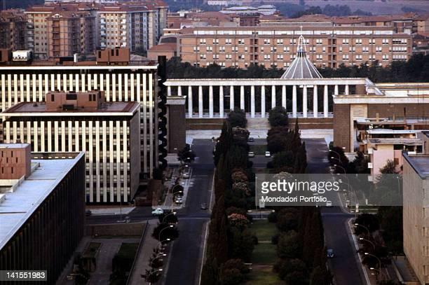 Bird'seye view of Eur district Rome 1970