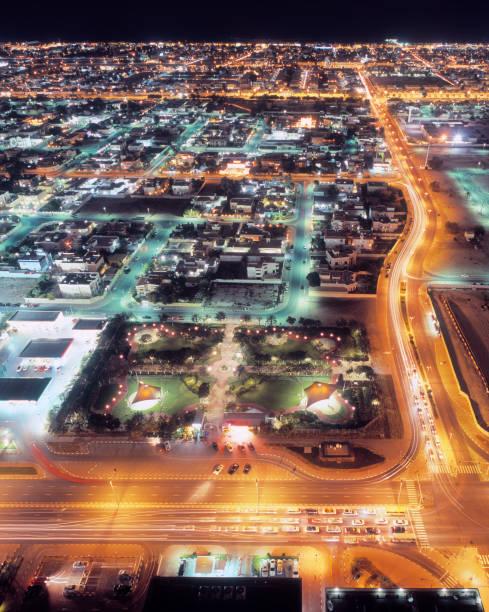 Bird's-eye view of illuminated Dubai at night