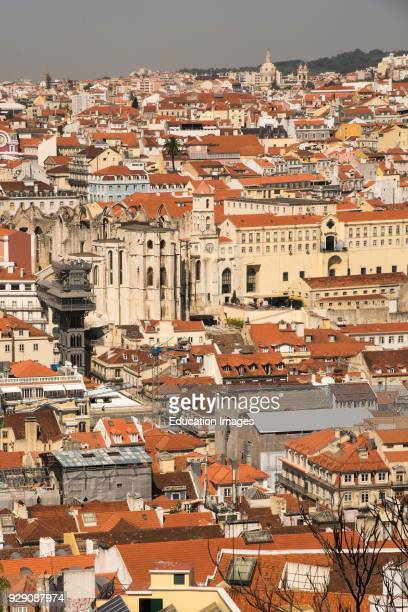 Birdseye view of Lisbon Portugal from The Castle