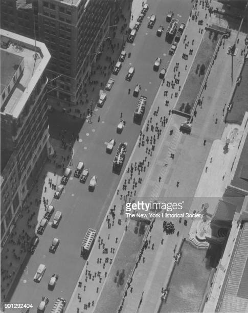 Birdseye view of New York Public Library and Fifth Avenue at 42nd Street New York New York 1929