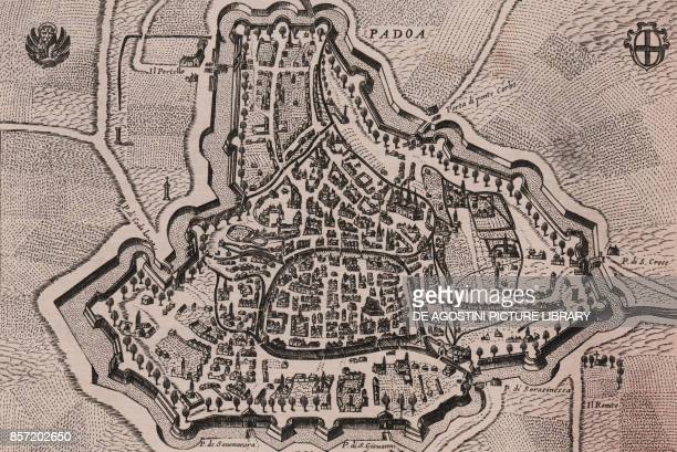 Bird'seye view of Padua and its surroundings with the coats of arms of St Mark and of the city Veneto Italy burin engraving 171x114 cm tratta da...