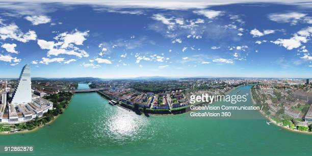 360° bird's-eye view of roche tower and rhine river - basel port stock photos and pictures