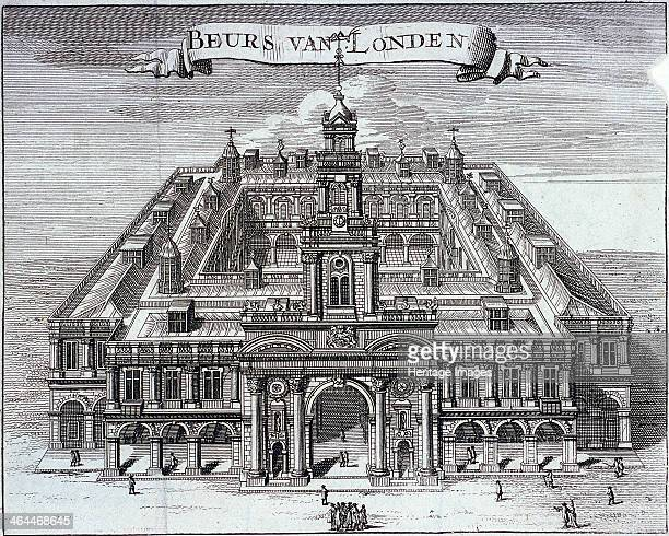 Bird'seye view of Royal Exchange's south front London c1680 with figures in the street outside