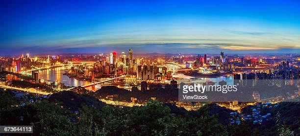 A birds-eye view of the city of Chongqing night