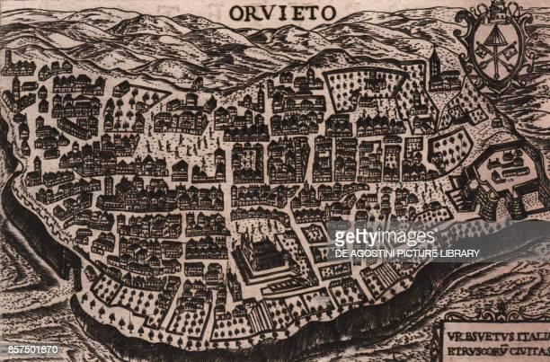 Bird'seye view of the city of Orvieto Umbria Italy burin engraving 178x118 cm tratta da Theatro delle citta d'Italia con nova aggiunta by Pietro and...