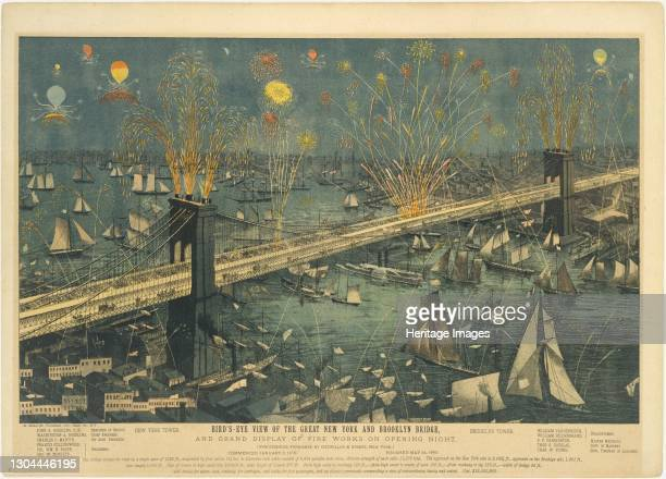 Bird's-Eye View of the Great New York and Brooklyn Bridge, and Grand Display of Fireworks on Opening Night...May 24, 1883. Artist Unknown.