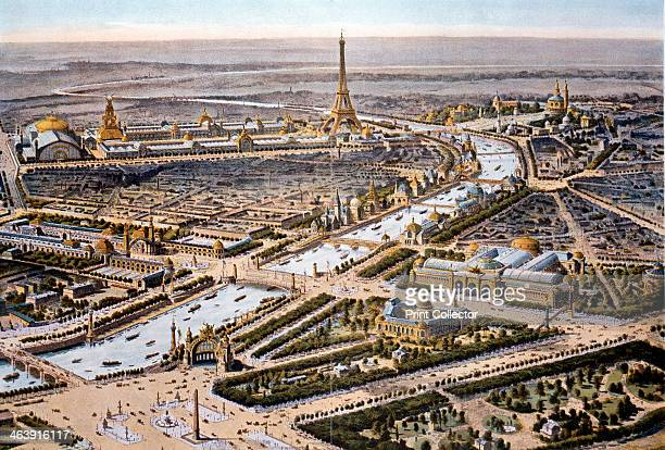 Bird'seye view of the Paris Expositon of 1900 The Eiffel Tower can be seen in the background