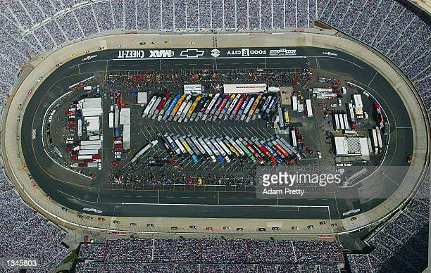 Birdseye view of the track during the NASCAR Winston Cup Food City 500 at the Bristol Motor Speedway in BristolTennessee