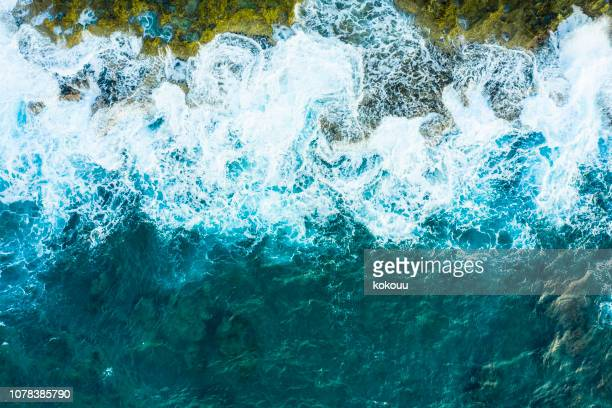 a bird's-eye view of the wave.powerful wave. viewpoint from directly above. - moss stock pictures, royalty-free photos & images