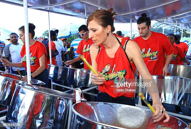 Birdsong Steel Orchestra performs during National Panorama Semi-Finals in the Queens Park Savannah as part of Trinidad and Tobago Carnival on...