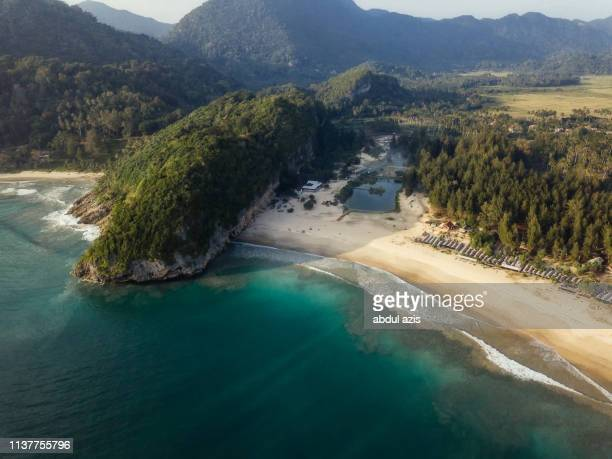 birdview lampuuk beach, banda aceh, indonesia - banda aceh stock pictures, royalty-free photos & images