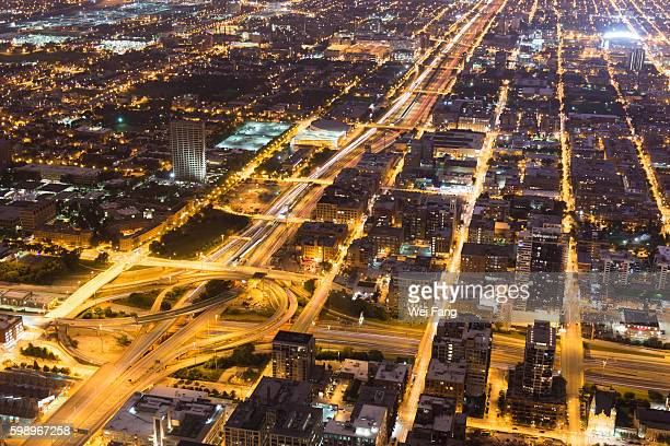 birdview of chicago at night - cook county illinois stock photos and pictures