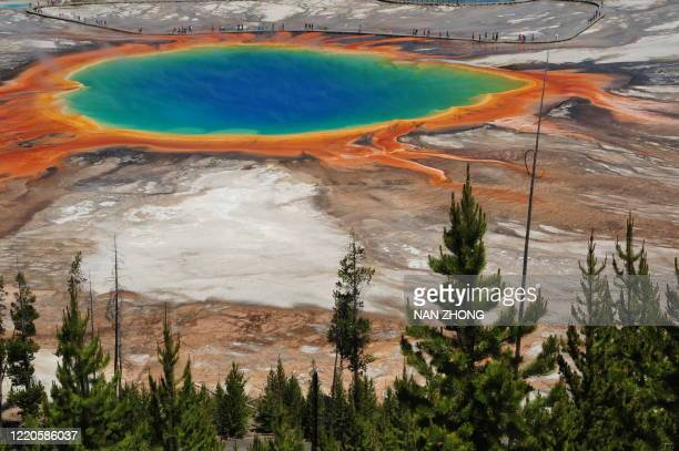 birdview of grand prismatic spring, yellowstone - caldera stock pictures, royalty-free photos & images