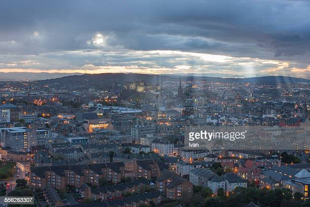 birdview, sunset in edinburgh from helicopter - st. giles cathedral stock pictures, royalty-free photos & images