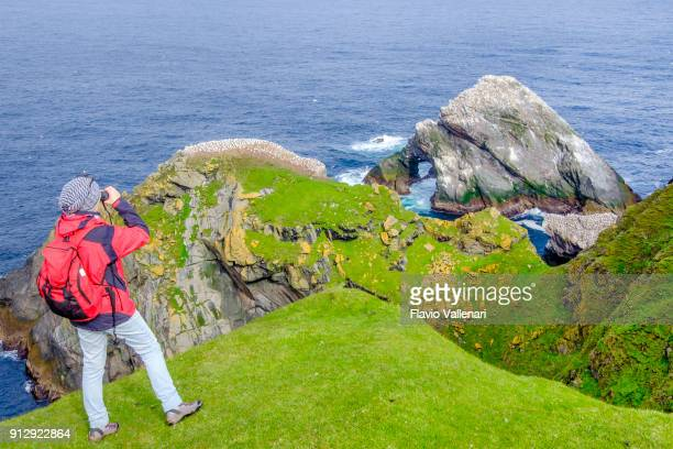 birdwatching at the hermaness national nature reserve, a dramatic cliff-top setting and a refuge of thousands of seabirds; it is the britain's most northerly point, located on the island of unst, shetland islands, scotland. - isole shetland foto e immagini stock