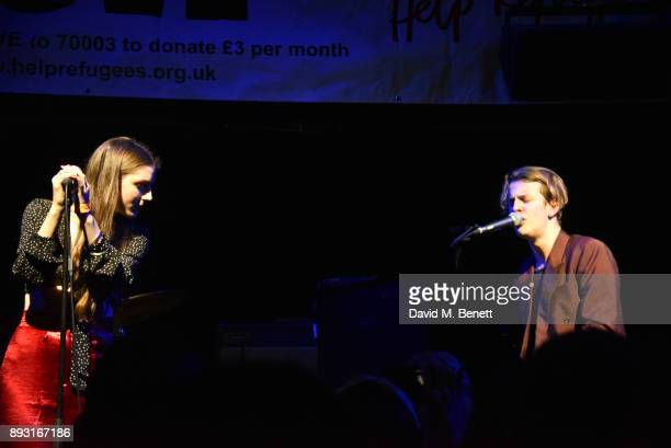 Birdy and Tom Odell perform at an intimate performance by Tom Odell and friends for Help Refugees at their annual Christmas party at The Jazz Cafe on...