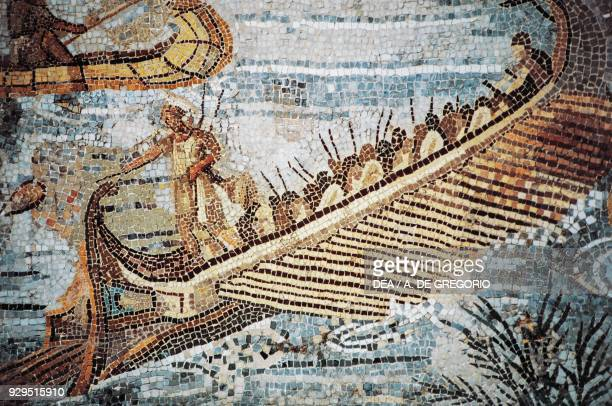 Bireme detail from the Nilotic mosaic of the flooding of the river Nile in Egypt from the Sanctuary of Fortuna Primigenia at Palestrina Lazio Italy...