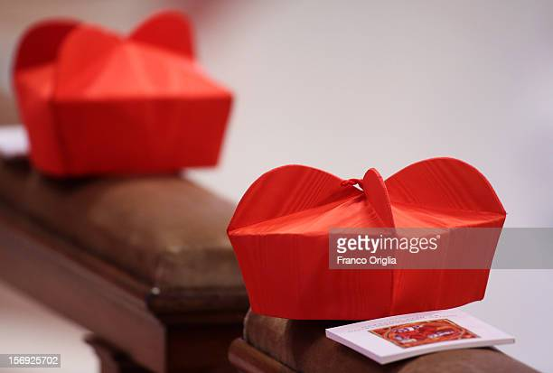 Biretta caps of cardinals during a mass held by Pope Benedict XVI with newly appointed cardinals at the St Peter's Basilica on November 25 2012 in...