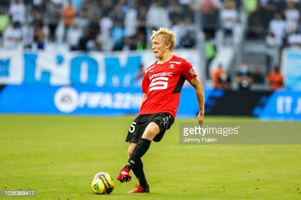 Birger MELING of Rennes during the Ligue 1 Uber Eats match between Marseille and Rennes at Orange Velodrome on September 19, 2021 in Marseille,...