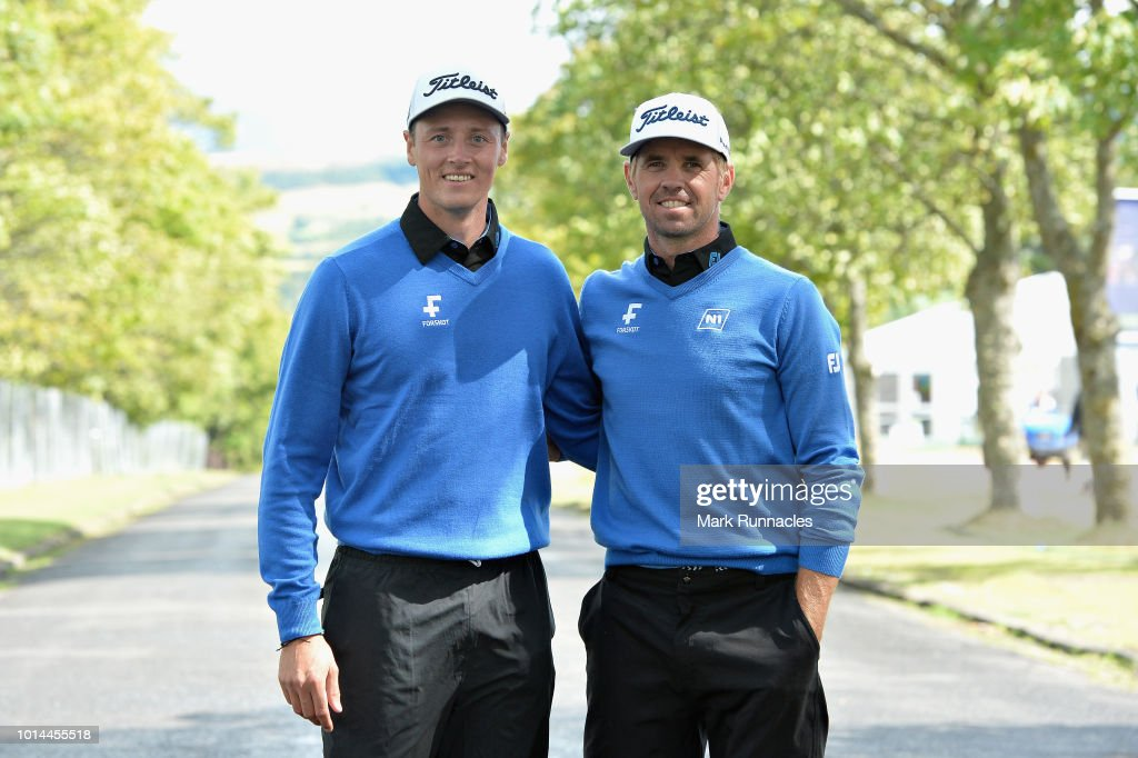 Birgir Hafthorsson and Axel Boasson of Iceland celebrate winning their match during day three of the European Golf Team Championships at Gleneagles on August 10, 2018 in Auchterarder, Scotland. This event forms part of the first multi-sport European Championships.