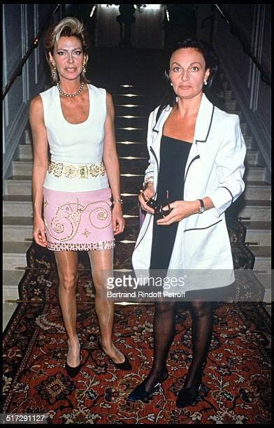 Birgit De Ganay and Diane De Furstenberg People Versace Haute Couture fashion show fall winter 19921993 collection in Paris