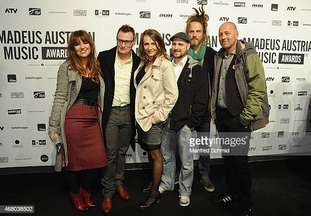 Birgit Denk and band pose for a photograph during the Amadeus Austrian Music Awards 2015 at Volkstheater on March 29 2015 in Vienna Austria