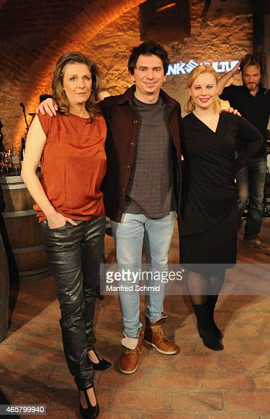 Birgit Denk, Julian Le Play and Katharina Strasser pose on stage during the 'Denk mit Kultur' TV Show on March 10, 2015 in Vienna, Austria.