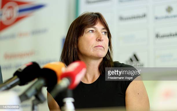 Birgit Fischer attends a press conference following a medical ahead of the German Olympic trials at Duisburg Regatta on April 6 2012 in Duisburg...