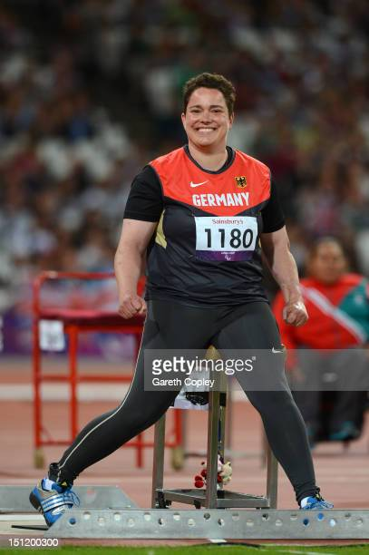 Birgit Kober of Germany celebrates as she competes in the Women's Javelin Throw - F52/53/33/34 Final on day 5 of the London 2012 Paralympic Games at...