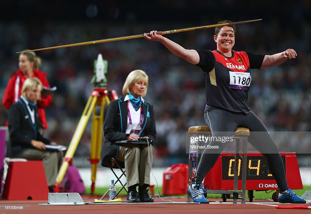 Birgit Kober of Germany competes in the Women's Javelin Throw - F52/53/33/34 Final on day 5 of the London 2012 Paralympic Games at Olympic Stadium on September 3, 2012 in London, England.