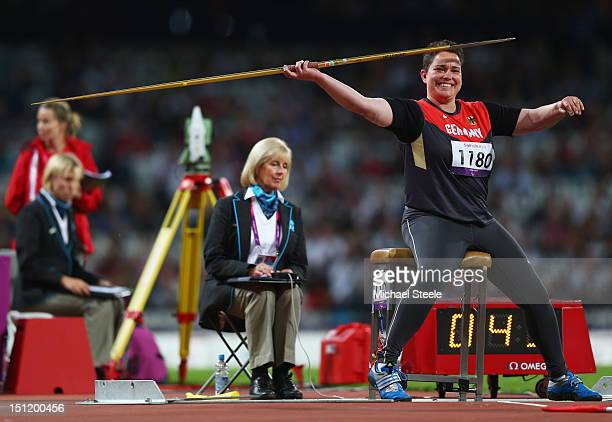 Birgit Kober of Germany competes in the Women's Javelin Throw - F52/53/33/34 Final on day 5 of the London 2012 Paralympic Games at Olympic Stadium on...