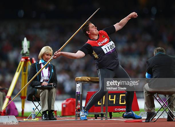 Birgit Kober of Germany competes in the Women's Javelin Throw F52/53/33/34 Final on day 5 of the London 2012 Paralympic Games at Olympic Stadium on...
