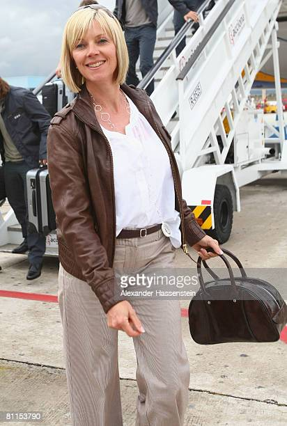 Birgit Kopecke wife of assistant coach Andreas Koepcke of Germany arrives at Palma Airport on May 19 2008 in Palma de Mallorca Spain The German...